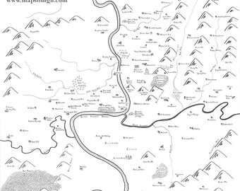 Fantasy map of Asheville, NC