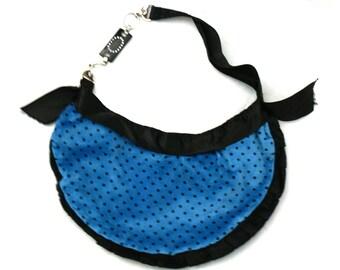 Lovely designer Velvet Handbag, blue and dots, Coctail Handbag