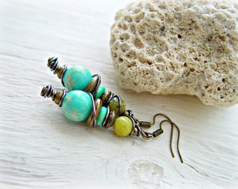 Boho Earrings - Boho Jewelry - Turquoise Earrings - Boho Turquoise Earring - Boho Earrings - Hippie Earrings - Gypsy Earrings