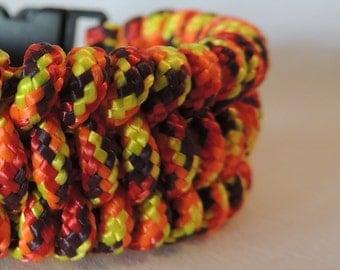 Fishtail Braid Fireball 325 Paracord Bracelet, Survival Bracelet