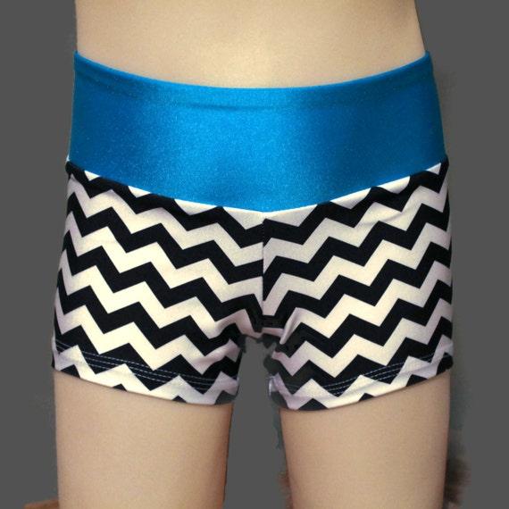 Spandex Shorts Black And White Chevron
