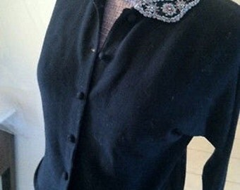 Beaded 1950's Wool Cardigan Sweaters with Beading and Rhinestones!