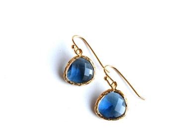 Gold Navy Earrings, Montana Blue Earrings, Glass Drop Earrings, Navy Bridesmaids Earrings, Navy Bridal Jewelry. Gold Navy Blue