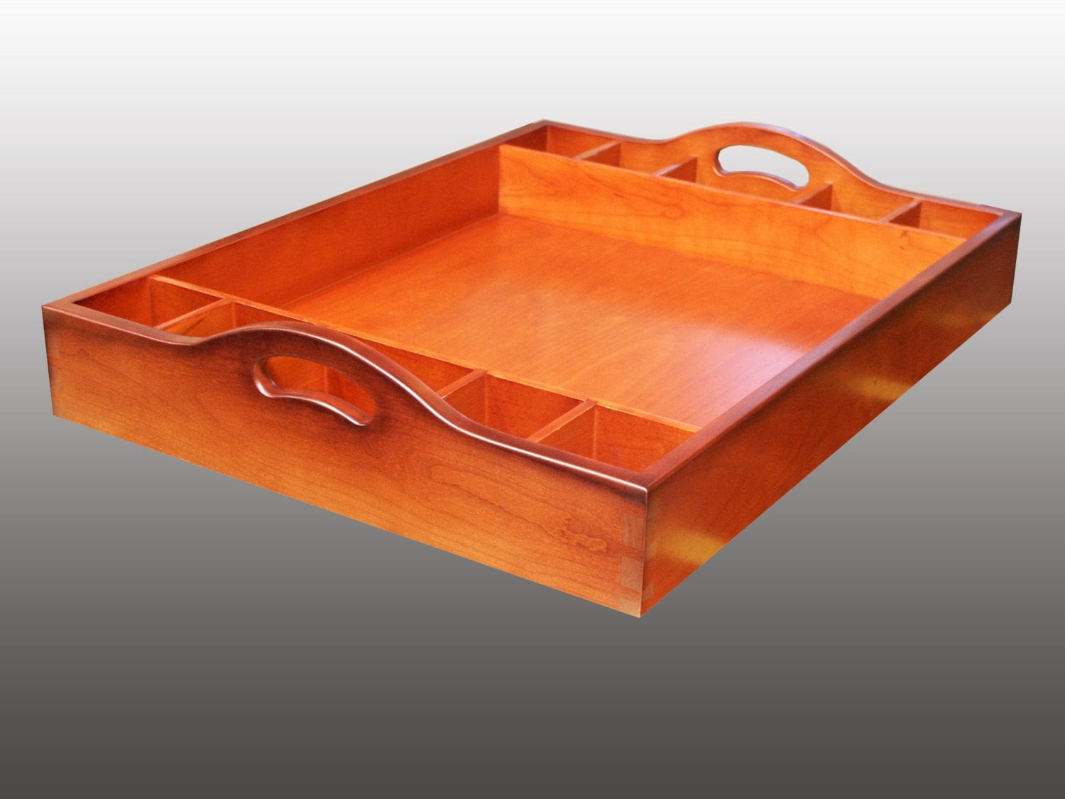 Cherry ottoman tray with drink holders