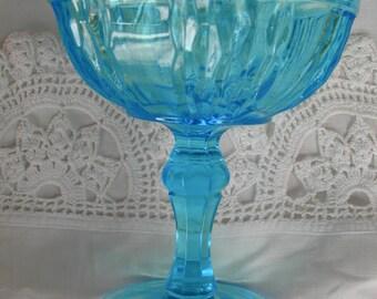 Vintage Blue Pressed Glass Compote/Goblet