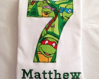Teenage Mutant Ninja Turtle BIRTHDAY Shirt. Kids Personalized Applique Name T-shirt. TMNT Gift, Theme, Party, Boys