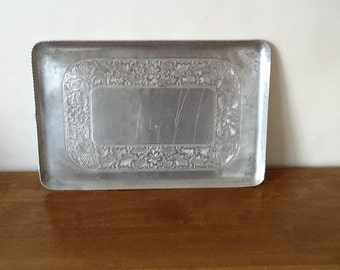 Vintage Rectangular Aluminum Tray, Everlast, Hand Forged, Embossed Floral Motif, Serving Tray, Ruffled Edge