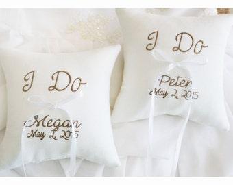 Ring bearer pillows, set of  2 pillows, I Do ring bearer pillows , wedding ring pillow , personalized ring bearer pillow (R128)