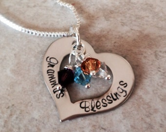 Personalized grandma's blessings open heart necklace with Swarovski crystal birthstones mom's blessings custom monogrammed birthstone