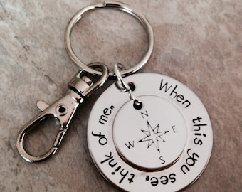 When this you see think of me remember me personalized keychain military deployment navy army marine corps air force remembrance