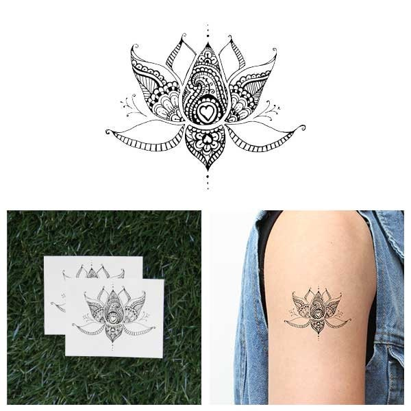 sacred lotus temporary tattoo set of 2. Black Bedroom Furniture Sets. Home Design Ideas