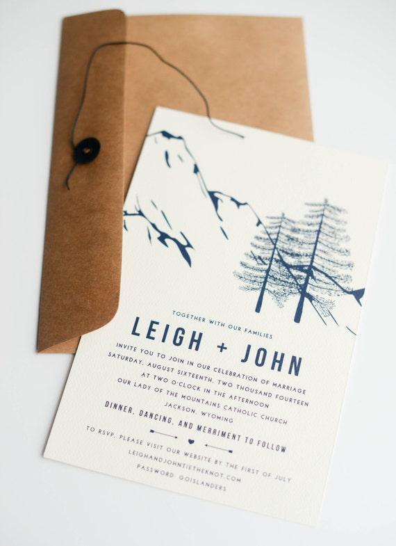 Winter Wedding Invitation, Mountain Wedding Invitation, Rustic Wedding Invitation, mountains, wedding invite, navy blue nature trees woods