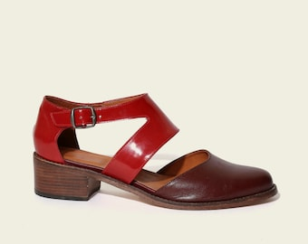 STYLE 1939 Patent Red and Red Wine Open Shoe