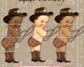 Little Cowboy | Hat | Boots | Scarf | Lasso | Bucking Bronco Diaper | Baby Boy | 3 Skin Tones 5 Hair Colors |  Clipart  Instant Download