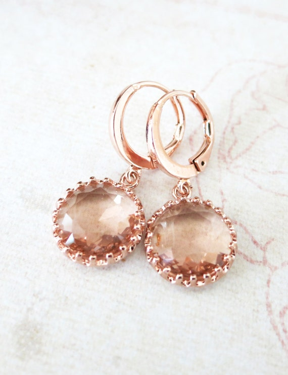 Rose Gold Champagne Glass drop Levered back Earrings - gifts for her, bridal pink rose gold weddings bridesmaid earrings jewelry
