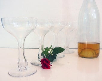 5 Hollow Stem Wine / Champagne Hand Blown Glasses - Vintage Set of 5 Hollow Stem Glasses - 1940s Style Vintage Clear Champagne Glasses