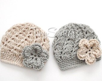 Twin Baby Girl Hats, Crochet Baby Flower Twins Hats, Twin Baby Beanies, Gray Twin Hats, Beige Twin Hats, Newborn Outfit, Hospital Baby Hats