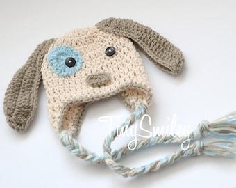 Little Puppy Dog Baby Hat, Puppy Baby Hat, Newborn Doggy Hat, Ecru and Beige Crochet Animal Hat, Puppy Hat, Baby Puppy Crochet Hat, Newborn