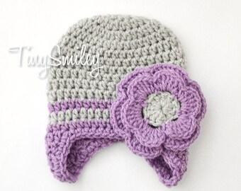 Baby Girl Earflap Hat, Baby Girl Gray Hat, Gray Newborn Girl Hat, Gray and Lilac Baby Hat, Earflap Crochet Baby Hat, Flower Baby Girl Hat