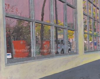 Window Reflection art print (Nicollet Ave Minneapolis landscape)