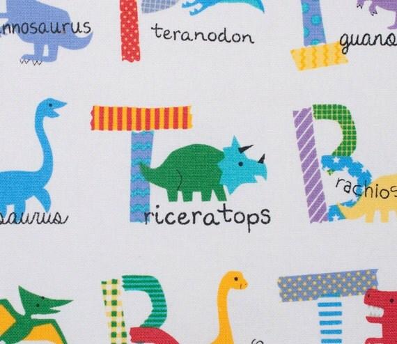 Dinosaurs fabric alphabet kids fabric japanese for Kids dinosaur fabric