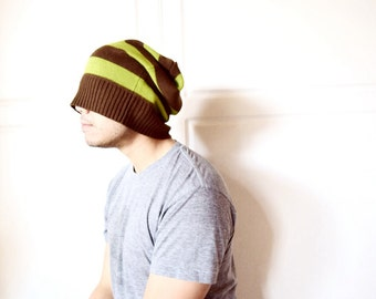 beanie, slouch beanie, guy hats, dread hat, knit beanie, green, brown stripe- boyfriend gift, dad gift, ready to ship, guy clothes