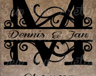 Split last name sign, 12x12 Ceramic tile, Wedding announcment, Personalized wedding gift, Established sign, bridal shower gift, housewarming