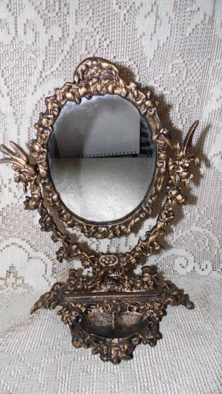 Cast iron fancy vanity mirror jewelry tray birds floral design for Fancy vanity mirror