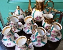Amazing Complete Coffee Set Handpainted antique / Gold Coffee set /French Coffee Set