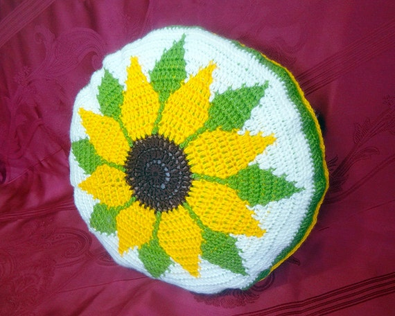 Sunflower Cushion Knitting Pattern : Crochet Cover for Pillow Circle Hand Knit Round Cushion