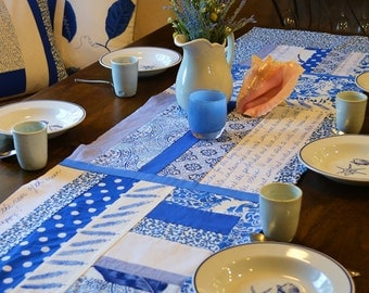 SALE! Blue and White Beach Theme Table Runner