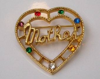 Mother Heart Brooch With Colored Stones