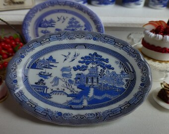 Blue Willow Tray for Dollhouse