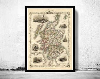 Old Map of Scotland 1851 Vintage Look  North britain
