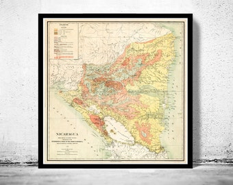 Vintage Map of Nicaragua 1903