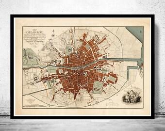 Beautiful Dublin Map, Ireland 1797 Antique Vintage