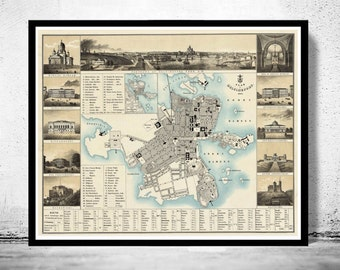 Old map of Helsinki 1860 Helsingfors Finland