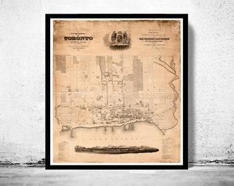 Toronto City Map Wall Decor Ontario Canada Poster Art Print