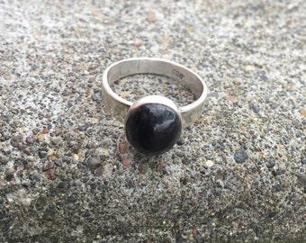 Mens ring, black Diopside Ring, Sterling Silver, handmade, man ring