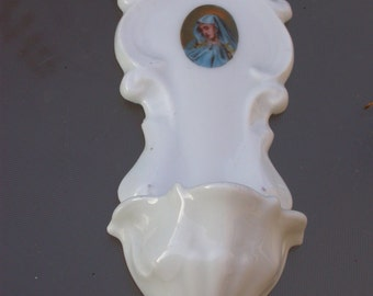 Antique French  Holy water font angel sculpture bisque virgin mary white porcelain religious ornament