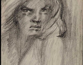 French vintage Original art pencil drawing signed portrait woman 385mm 17.6inches