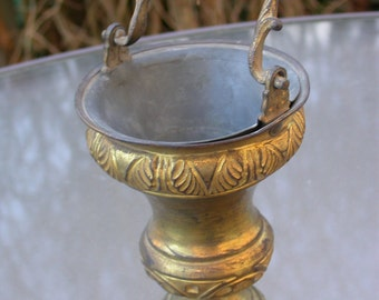 French antique bronze Holy water bucket gold gilt cherche gothic ornate solid bronze vase