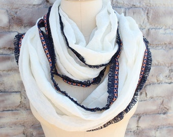 Fashion  infinity scarf cream   color with trim  soft  and big size
