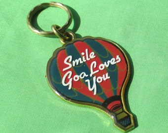 Vintage Smile God Loves You Metal Hot Air Balloon Keychain