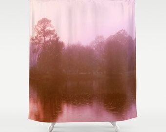 Pink Landscape, Pink Shower Curtain, Pink Bathroom Decor, Pink Tree, Pink Lake, Pink and Brown, Bathroom Decor, photograph romance nature