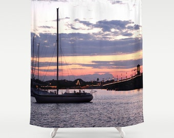 River Shower Curtain, Boat Shower Curtain, Natucial Home Decor, Bathroom  Decor, Beach