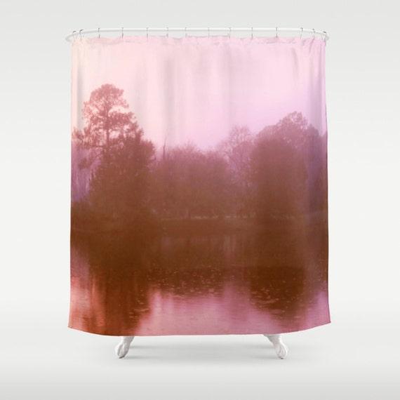 pink landscape pink shower curtain pink bathroom decor pink