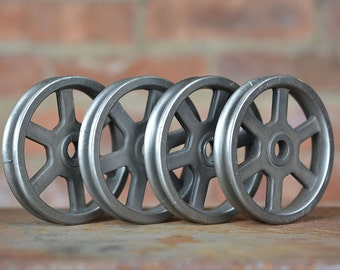 Pulley Wheels - Set of 4 - Antique Nickel - Iron Pulley - Metal Pulley - Pulley Light Parts - Barn Door Hardware