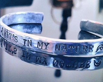 "Personalized Bracelet, Ripple hammered,  Engraved Bracelet, love, valentines, wedding gift, bridal, 1/4"", anniversary, love, yoga, Dr. Who"