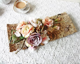 Birch bark table centerpiece/ rustic wedding decor garden party decor  silk flower arrangement wall decor